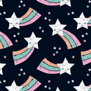 Shooting star and rainbow sky kawaii japanese style stars illustration kids girls pink blue