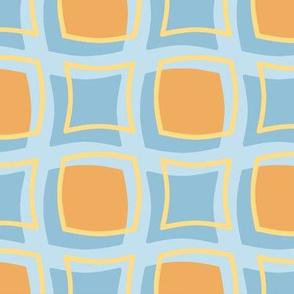 orange blue gold retro squares