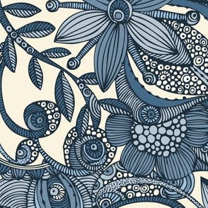Doodle and flowers in blue