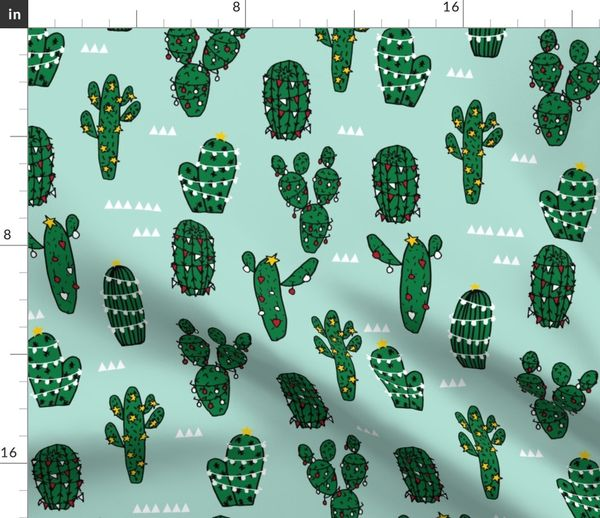 Christmas Cacti.Fabric By The Yard Large Christmas Cactus Cute Xmas Holiday Cacti Fabric Cute Cactus Fabrics