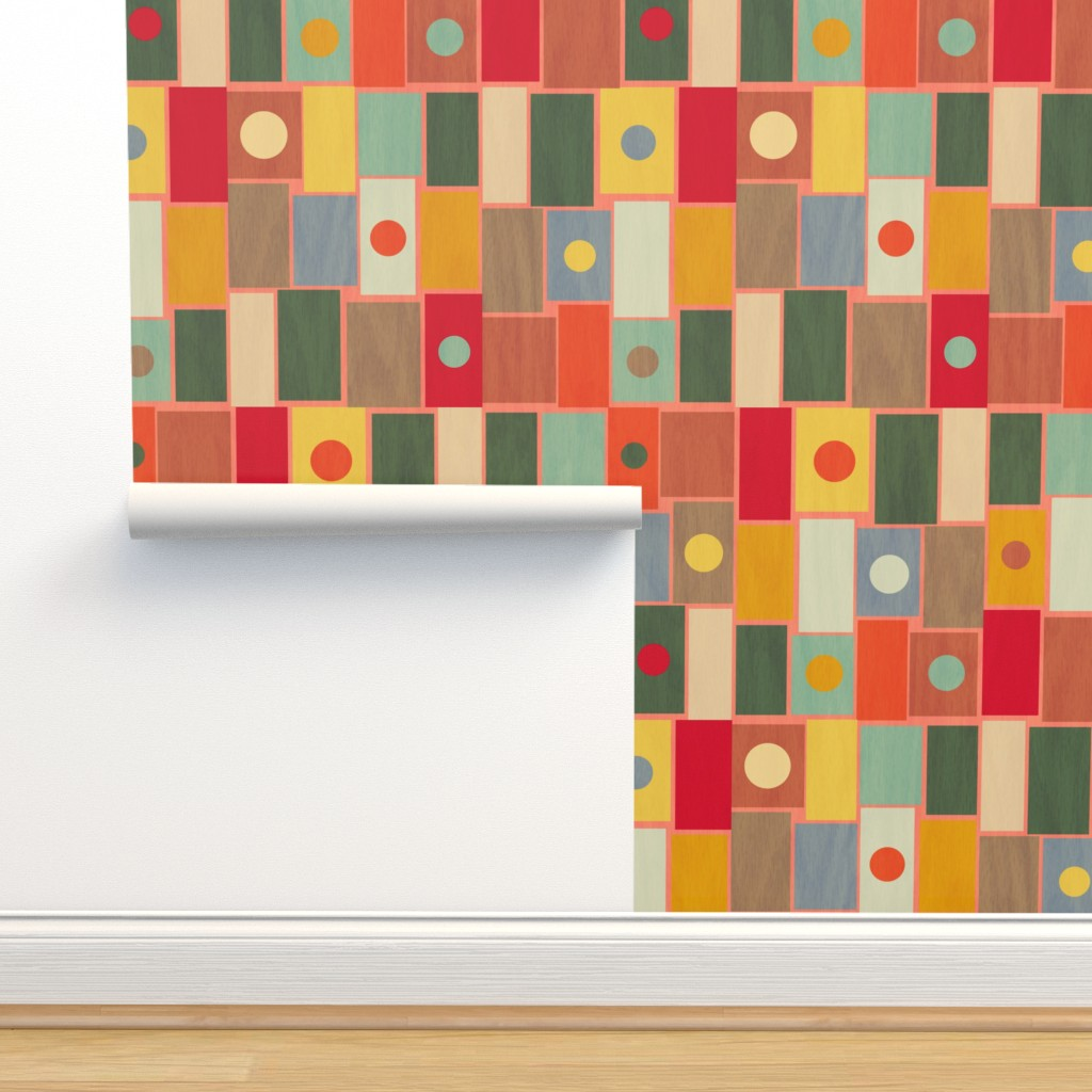 Isobar Durable Wallpaper featuring Midcentury Rectangles by mgdoodlestudio