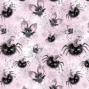 Temporary size change Halloween Glam spider bat web on blush