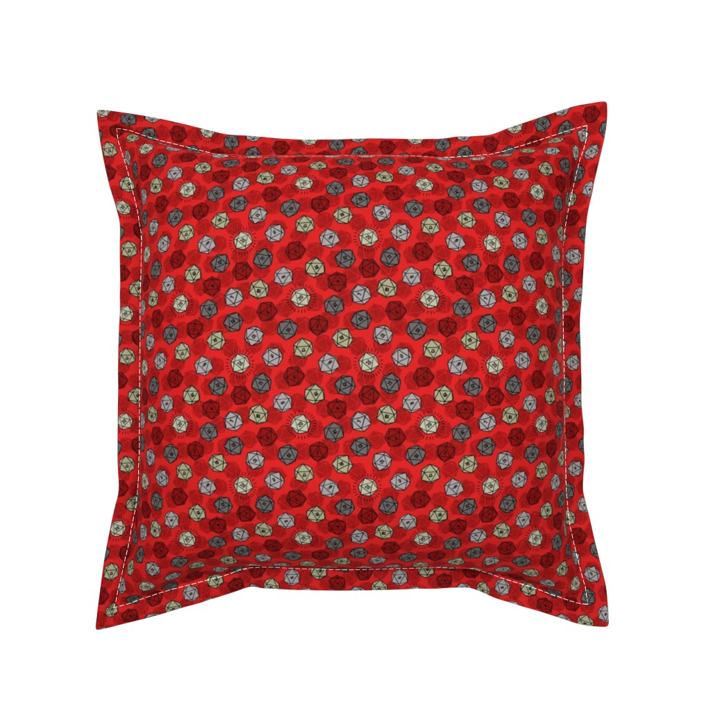Serama Throw Pillow featuring Tossed d20 in Silver & Red by moonpuff