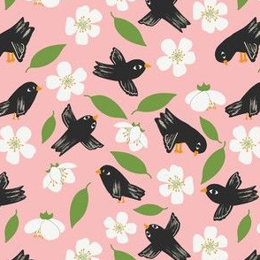 Blackbirds and Apple Blossoms Pink