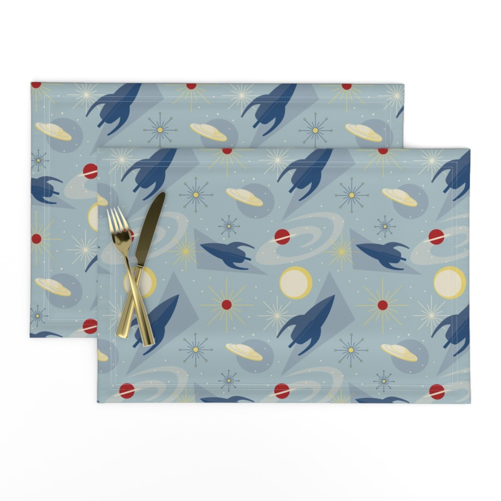 Lamona Cloth Placemats featuring 1950s Space Race 1 by heather_hughes