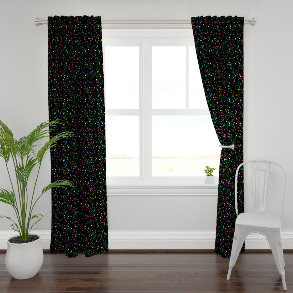 Plymouth Curtain Panel featuring Tangled Christmas Lights - Red Blue Pink Purple by ohdarkthirty