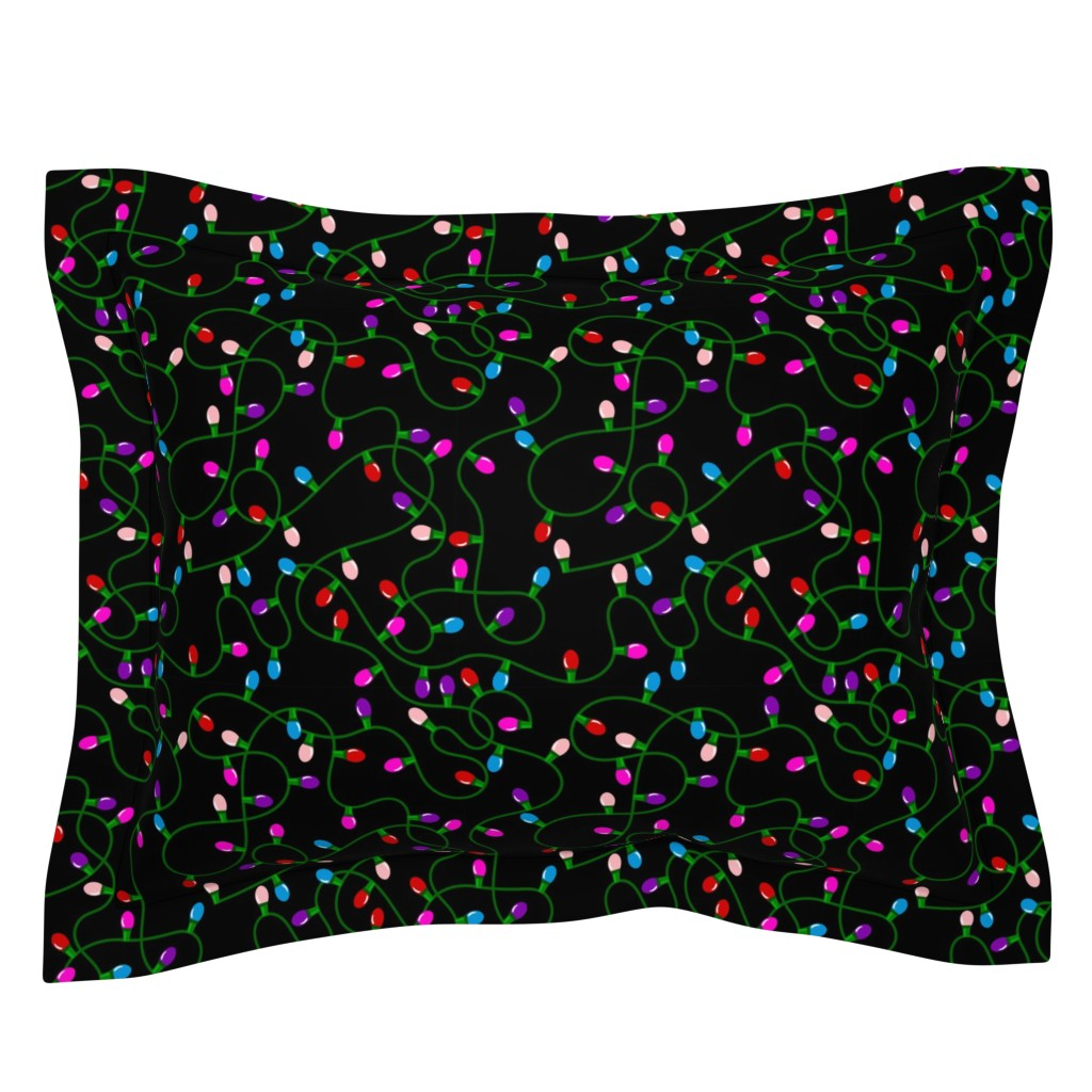 Sebright Pillow Sham featuring Tangled Christmas Lights - Red Blue Pink Purple by ohdarkthirty