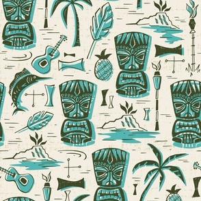 Tropical Tiki - Cream & Aqua