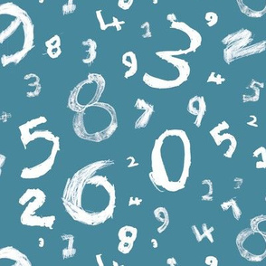 Numbers - blue and white