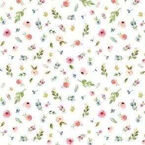 TINY Woodland Flowers - Pink Peach Blush Blue Floral