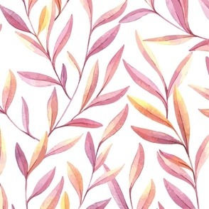 Lavender Amber Leaves Seamless Pattern