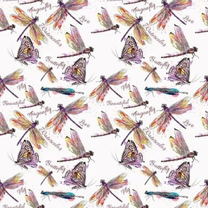 Purple Watercolor Dragonfly And Butterfly