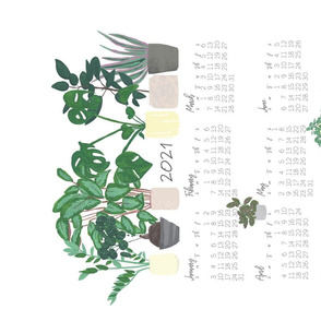2020Houseplants Tea Towel