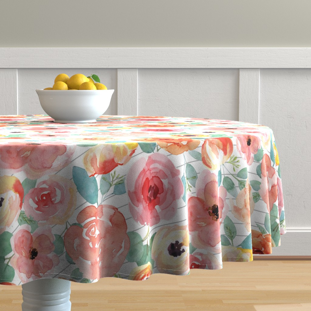 Malay Round Tablecloth featuring Peachy Pink Flowers on Grey Stripes by taylor_bates_creative