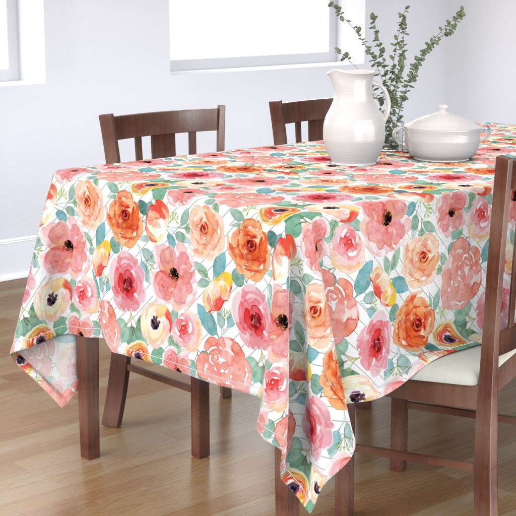Bantam Rectangular Tablecloth featuring Peachy Pink Flowers on Grey Stripes by taylor_bates_creative