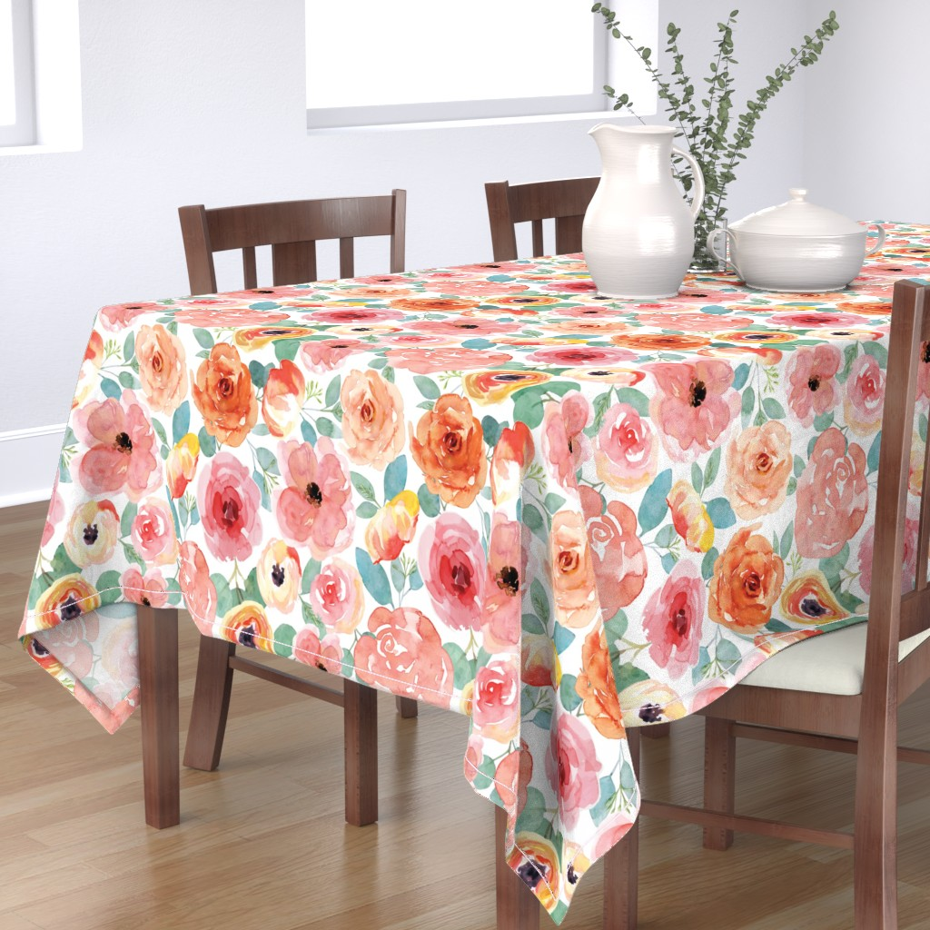 Bantam Rectangular Tablecloth featuring Peachy Pink Watercolor Flowers by taylor_bates_creative
