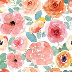 Peachy Pink Watercolor Flowers