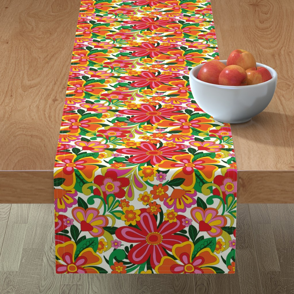 Minorca Table Runner featuring 1960's bright, bold foral by patternanddesign