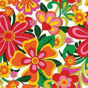 1960's bright, bold foral