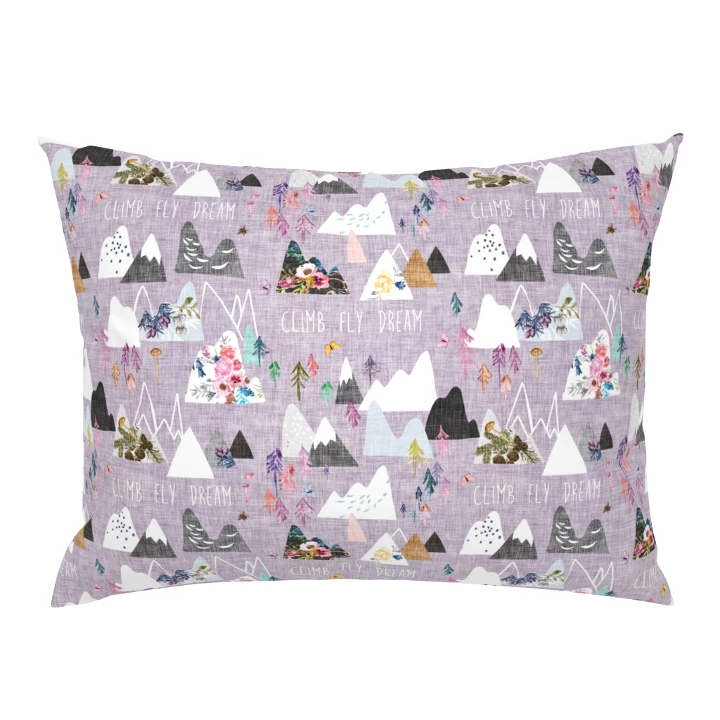 Campine Pillow Sham featuring Mountain Dreams (lavender) MED by nouveau_bohemian