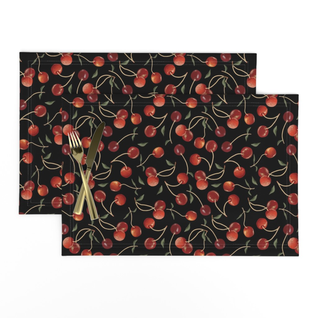 Lamona Cloth Placemats featuring Cherry Basket by jofryerdesigns