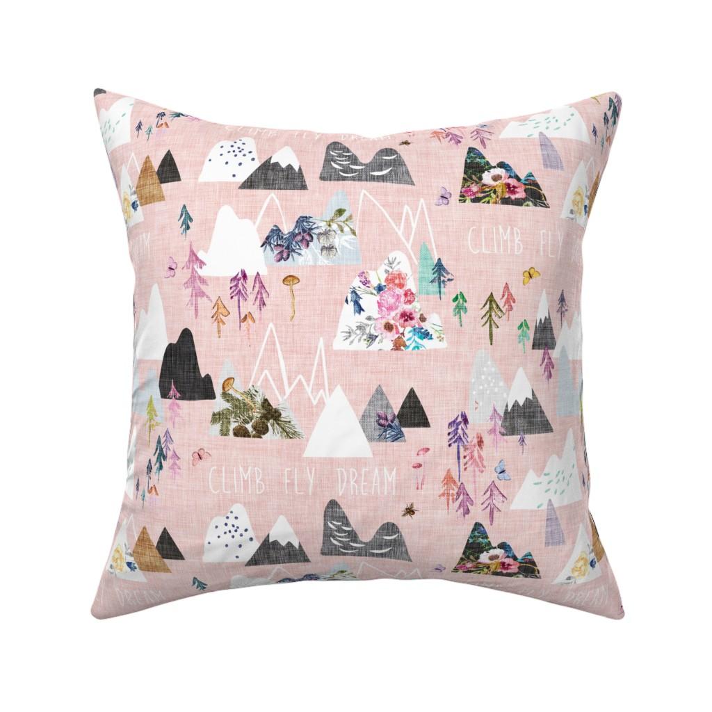 Catalan Throw Pillow featuring Mountain Dreams (rose)  by nouveau_bohemian