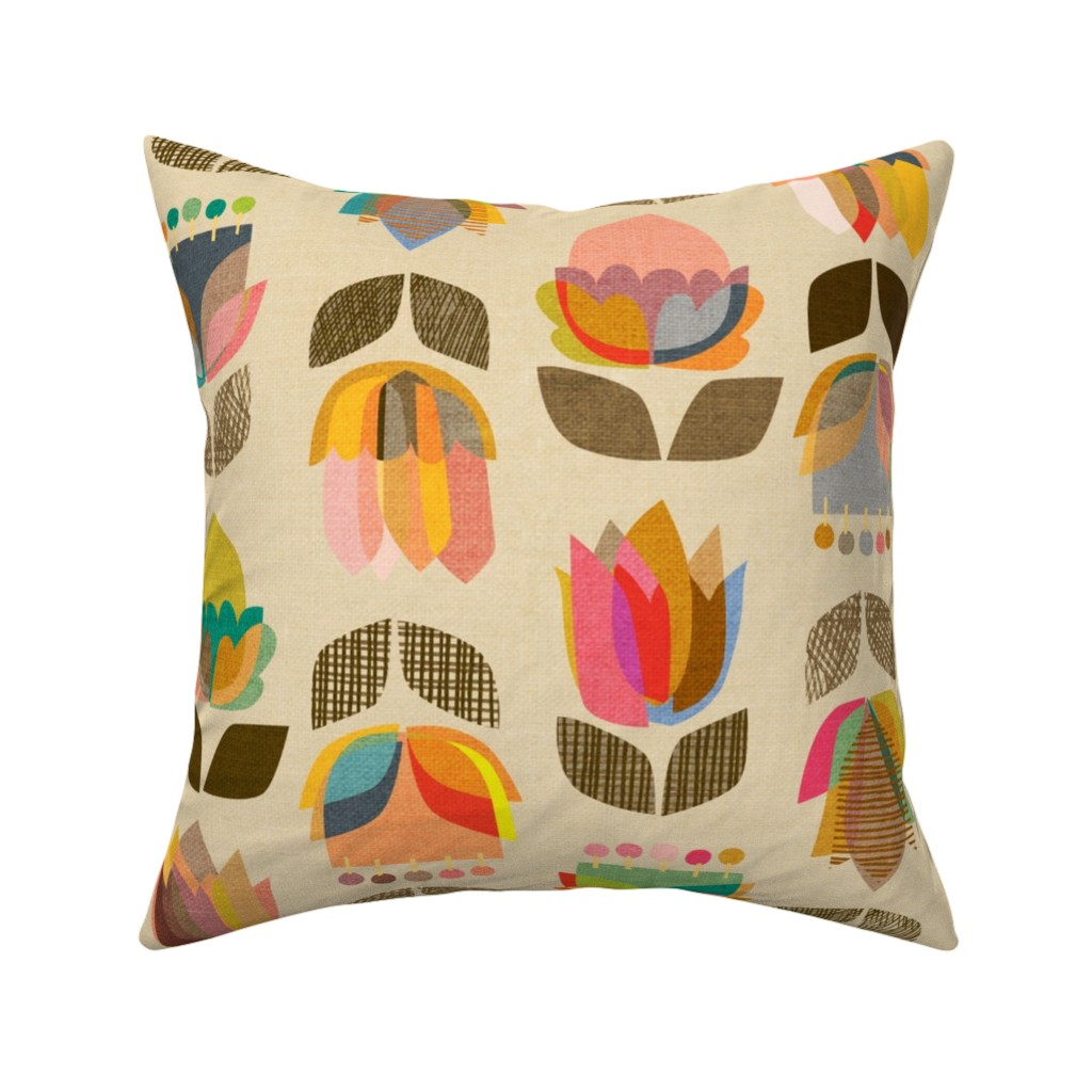 Catalan Throw Pillow featuring Mid-Century Flowers {Kaleidoscope} - large scale by ceciliamok