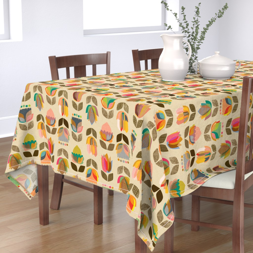 Bantam Rectangular Tablecloth featuring Mid-Century Flowers {Kaleidoscope} - large scale by ceciliamok