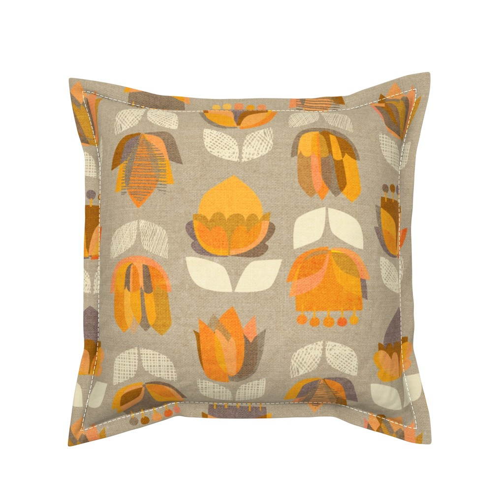 Serama Throw Pillow featuring Mid Century Flowers {Orange/Grey} - large scale by ceciliamok