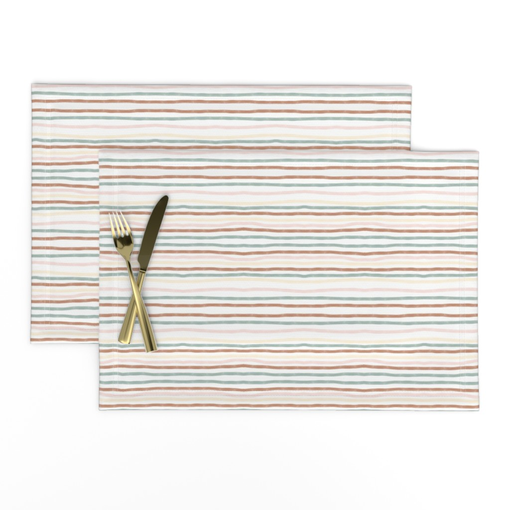 Lamona Cloth Placemats featuring hand drawn stripes - terracotta, aqua,  pastel yellow and pink by sunny_afternoon