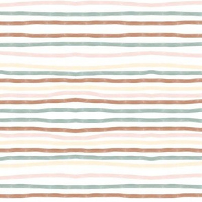 hand drawn stripes - terracotta, aqua,  pastel yellow and pink