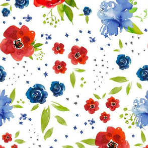 red white and blue floral