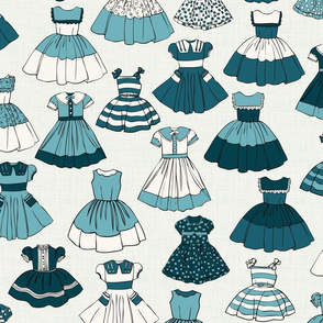 1950s Girls Dresses - Blue, H White