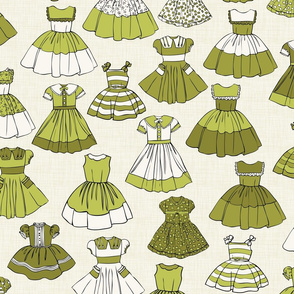 1950s Girls Dresses - Green, H White