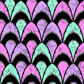 shark scallop pink, purple, teal