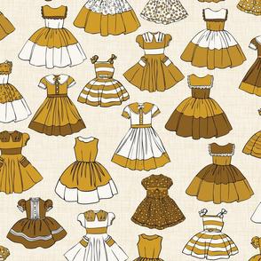 Girls Dresses - Mustard, H White