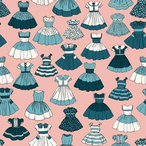 1950s Girls Dresses - Teal, Pink, H White