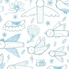 Pretty Pretty Birds, on white