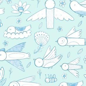 Pretty Pretty Birds, on Blue