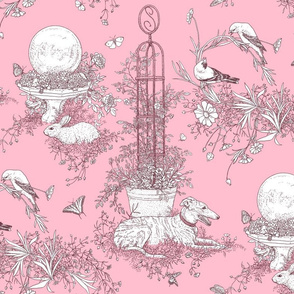 My Garden Toile Main Large Rose Pink  ©2011 by Jane Walker