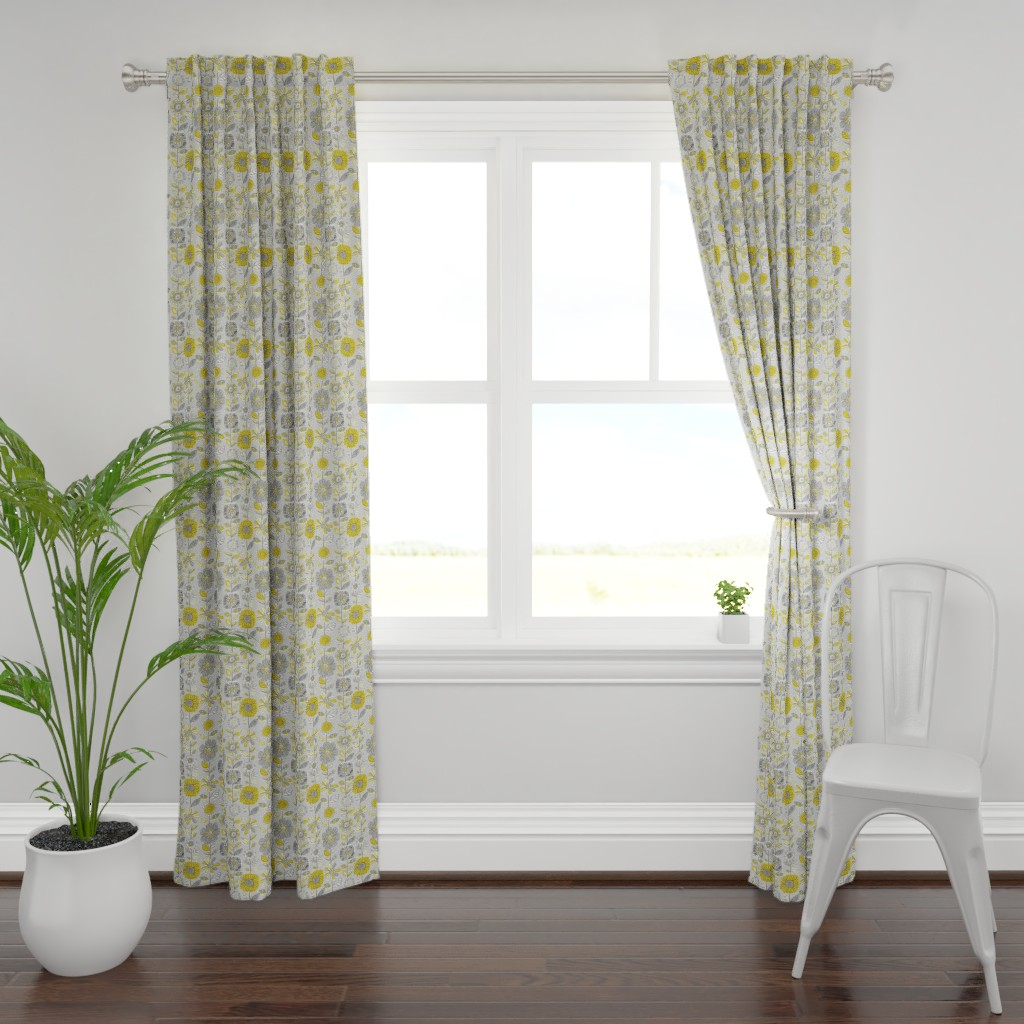 Plymouth Curtain Panel featuring Fabulous Fifties Flowers by cressida_carr