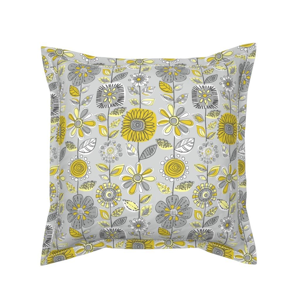 Serama Throw Pillow featuring Fabulous Fifties Flowers by cressida_carr