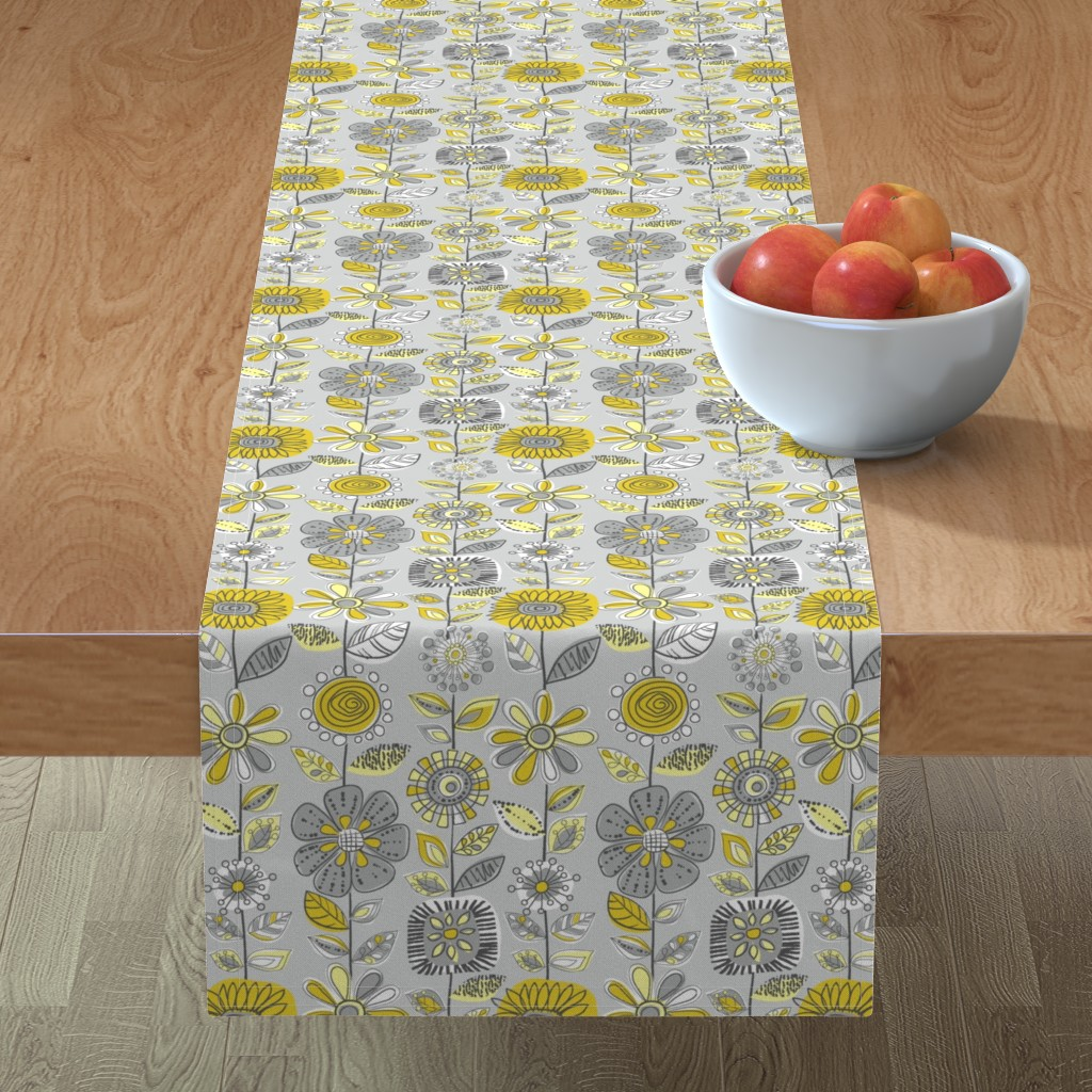 Minorca Table Runner featuring Fabulous Fifties Flowers by cressida_carr