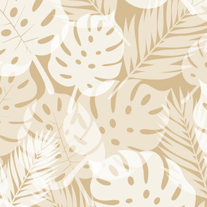 Tropical Shadows - White on Beige - Large Scale