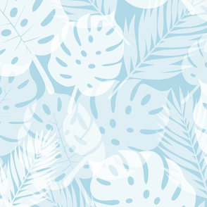 Tropical Shadows - White on Blue - Large Scale