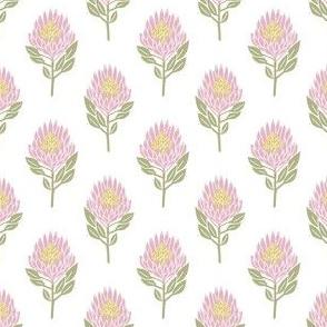 protea floral  // linocut flower, floral, stem, bloom, linocuts, folk, decor - white