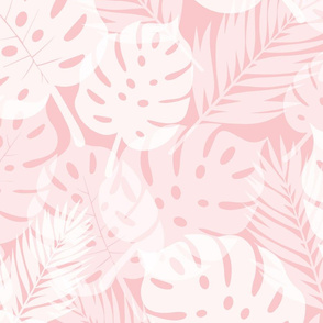 Tropical Shadows - White on Pink - Large Scale