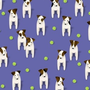 lucky 13 Parson Jack Russell Terriers w tennis balls - sage green - small
