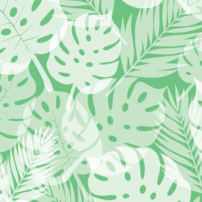 Tropical Shadows - White on Green - Large Scale
