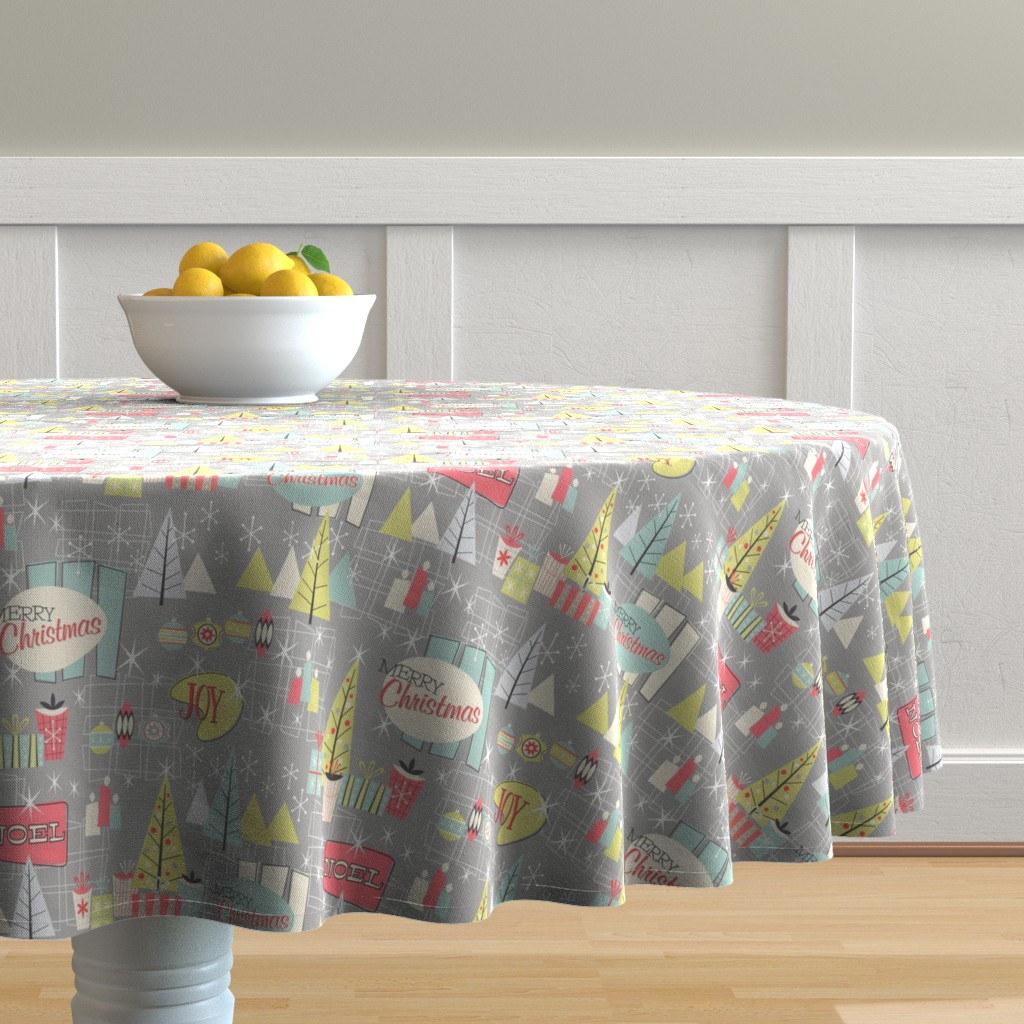 Malay Round Tablecloth featuring 50s Retro Christmas-1 by kimbliss